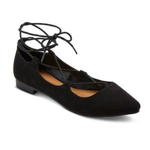 Black Faux Suede Pointed Toe Lace up Ballet Flats